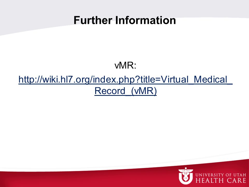 Further Information vMR:
