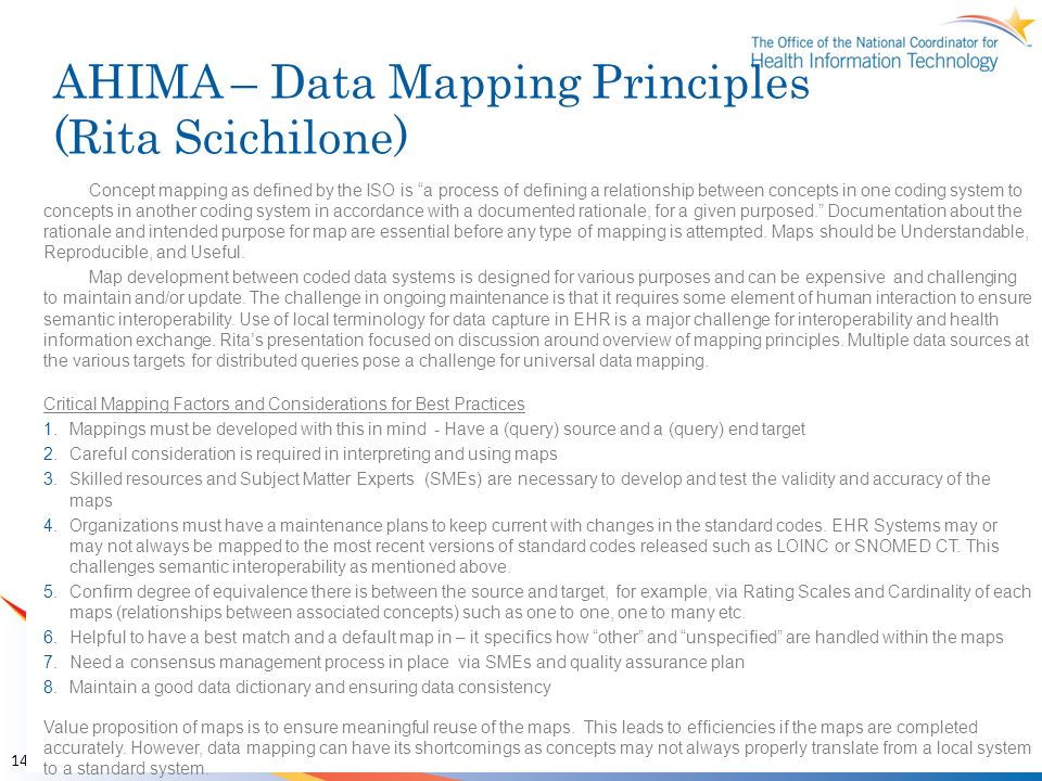 AHIMA – Data Mapping Principles (Rita Scichilone)