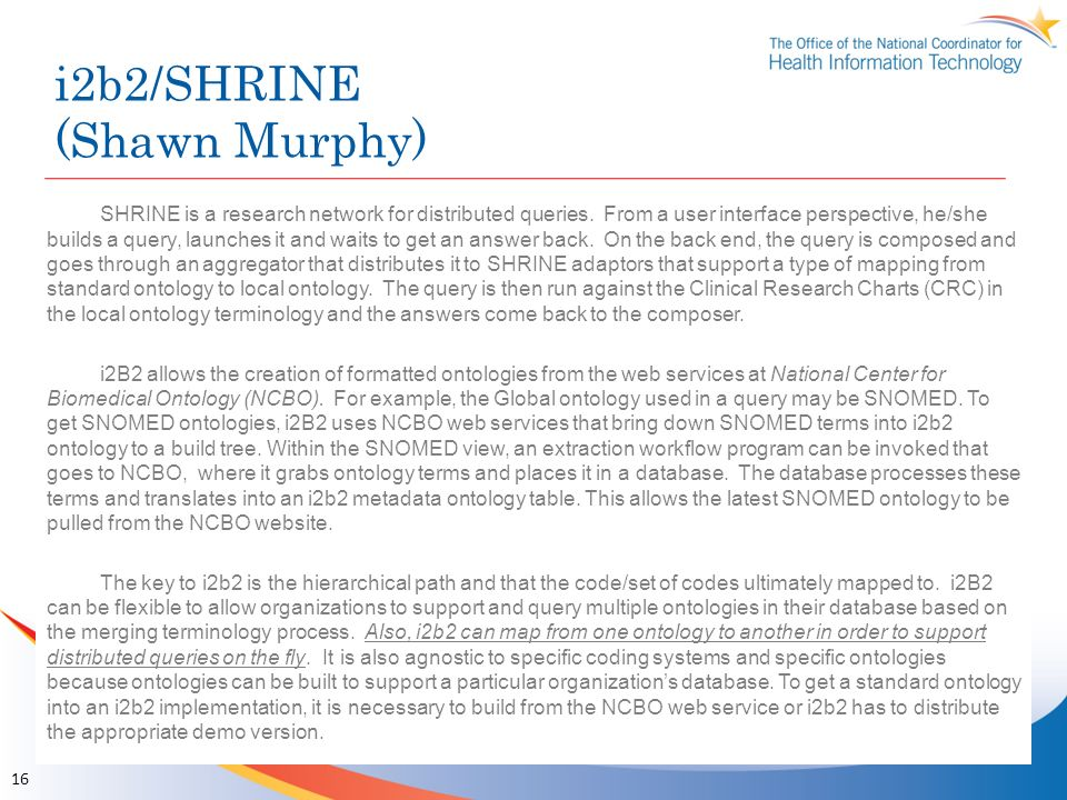 i2b2/SHRINE (Shawn Murphy)
