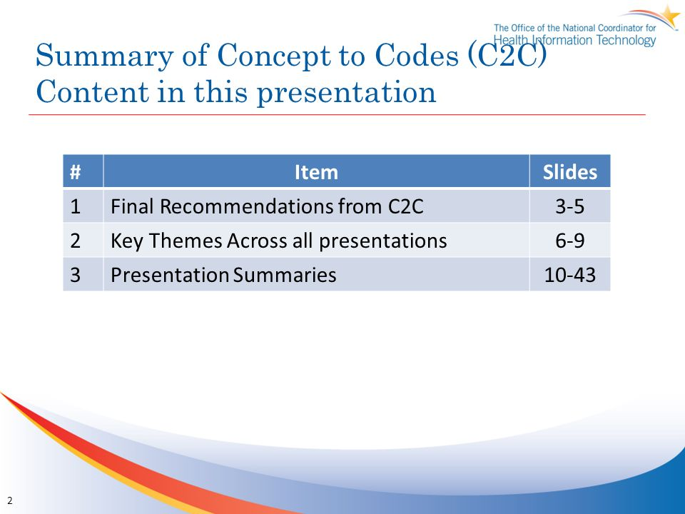 Summary of Concept to Codes (C2C) Content in this presentation