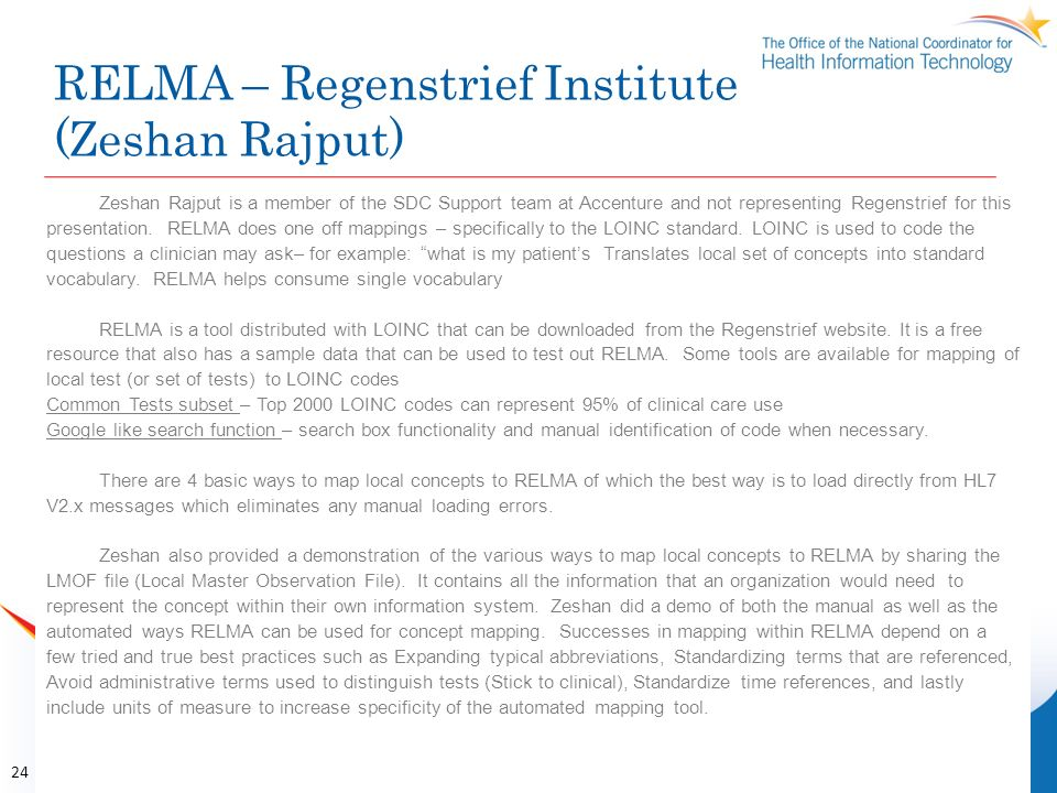 RELMA – Regenstrief Institute (Zeshan Rajput)