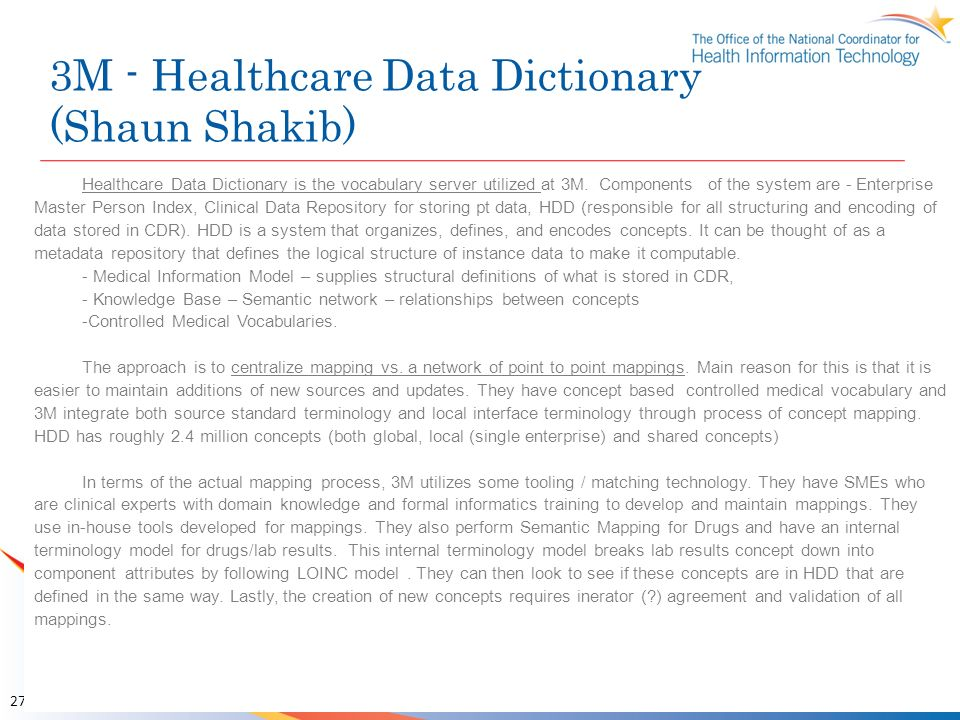 3M - Healthcare Data Dictionary (Shaun Shakib)