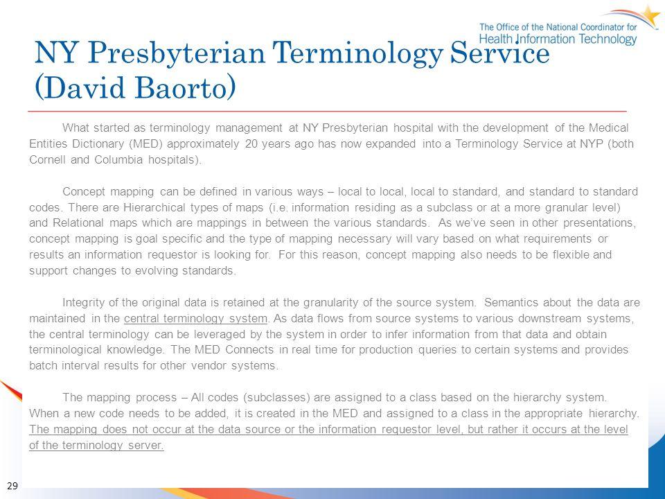NY Presbyterian Terminology Service (David Baorto)