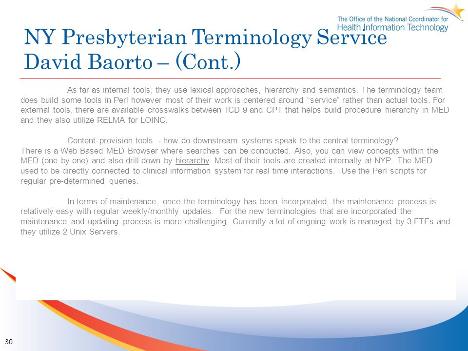 NY Presbyterian Terminology Service David Baorto – (Cont.)