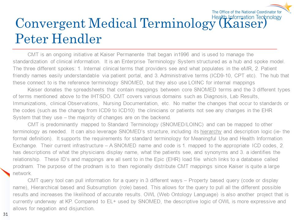 Convergent Medical Terminology (Kaiser) Peter Hendler