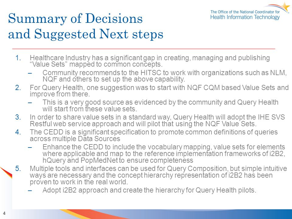 Summary of Decisions and Suggested Next steps