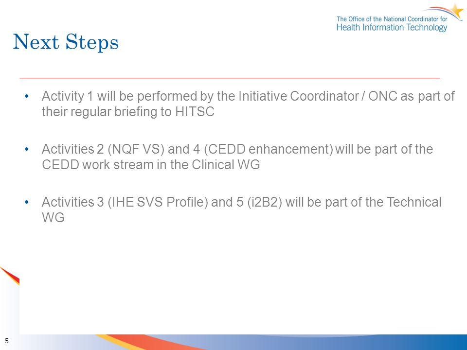 Next Steps Activity 1 will be performed by the Initiative Coordinator / ONC as part of their regular briefing to HITSC.