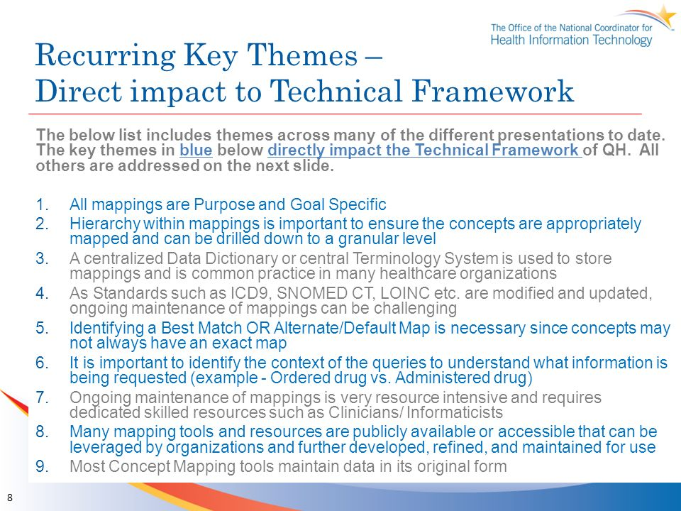 Recurring Key Themes – Direct impact to Technical Framework