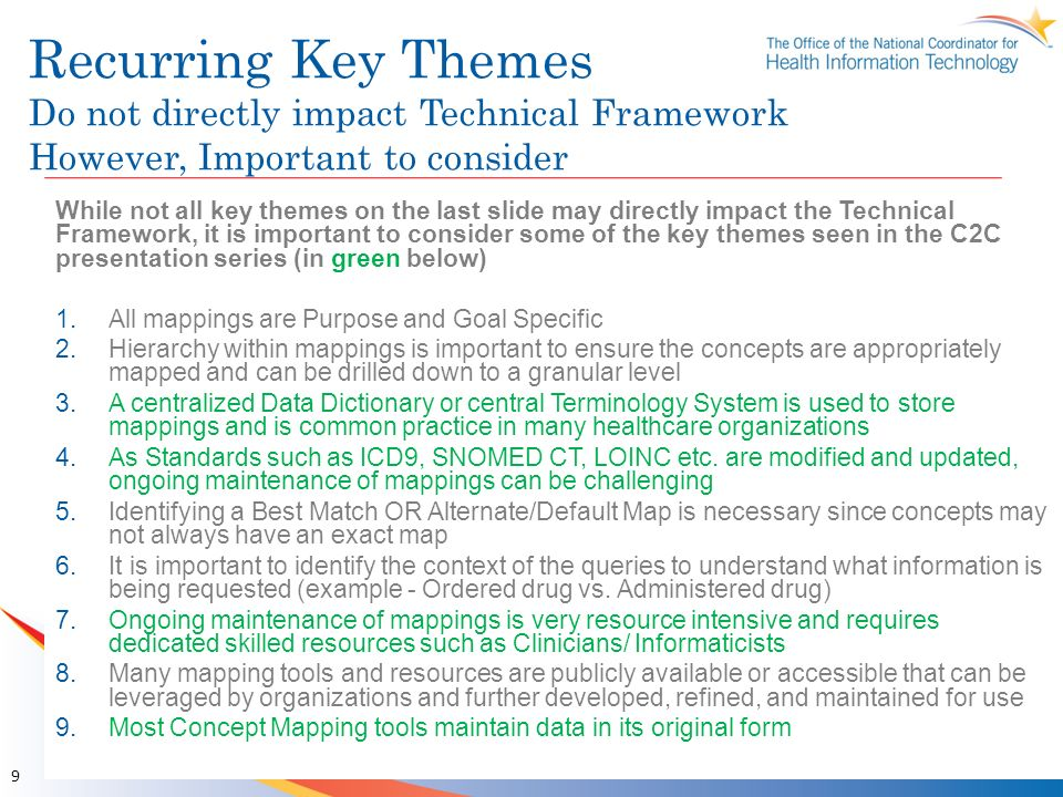 Recurring Key Themes Do not directly impact Technical Framework However, Important to consider