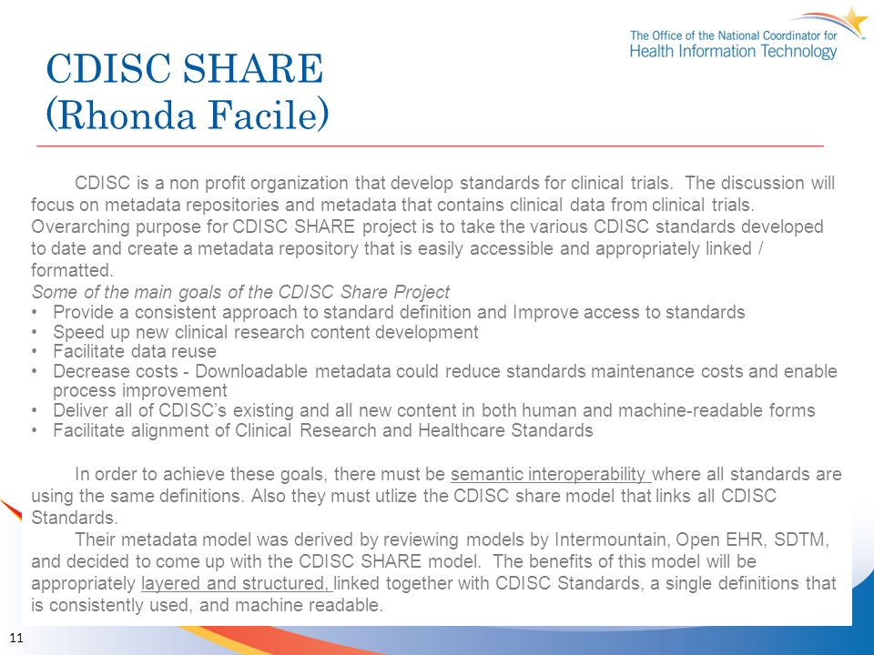 CDISC SHARE (Rhonda Facile)