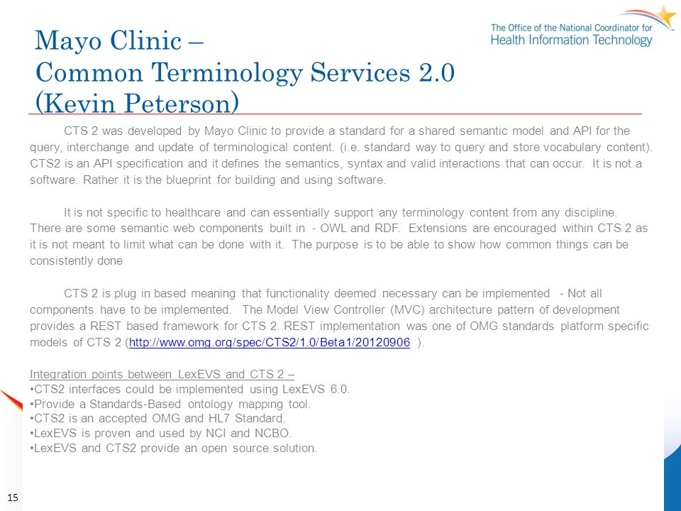 Mayo Clinic – Common Terminology Services 2.0 (Kevin Peterson)