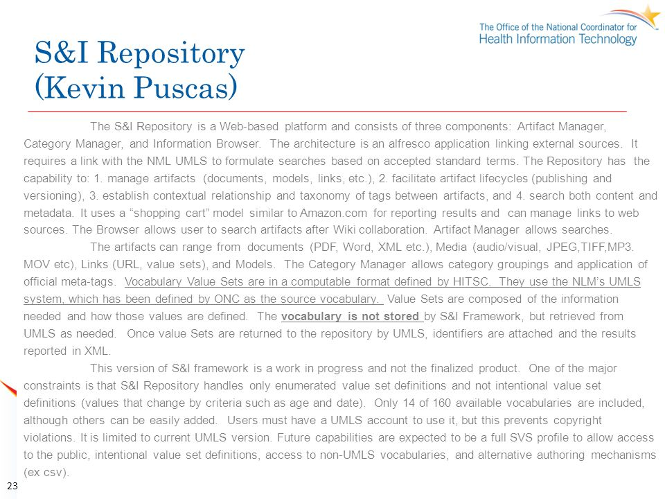 S&I Repository (Kevin Puscas)