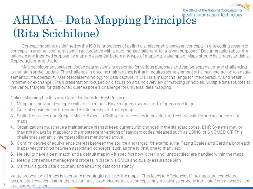 AHIMA – Data Mapping Principles (Rita Scichilone)