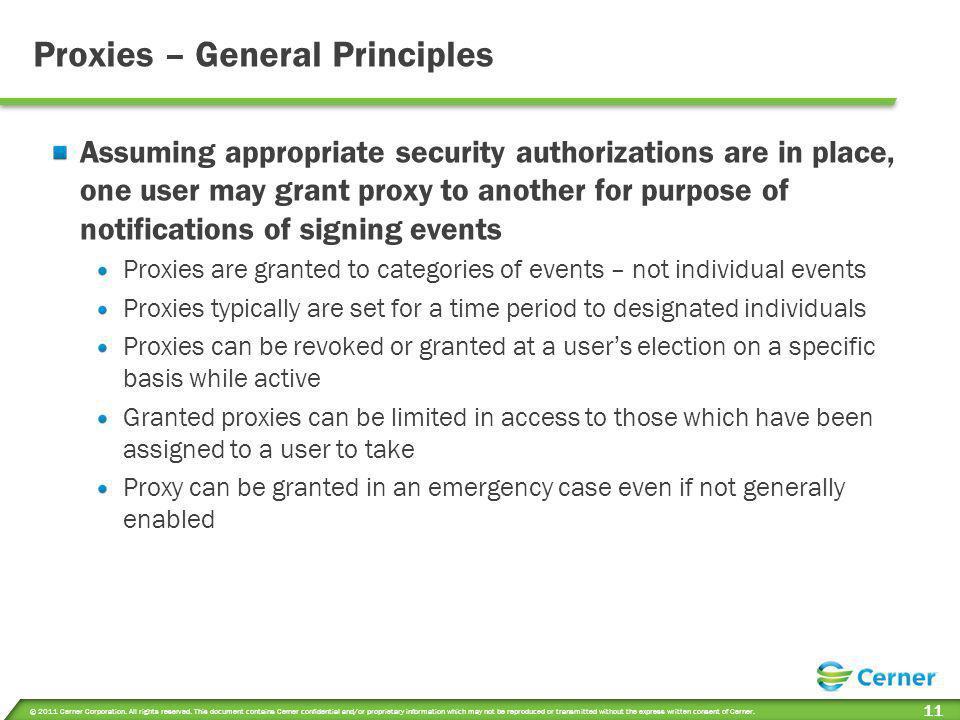 Proxies – General Principles