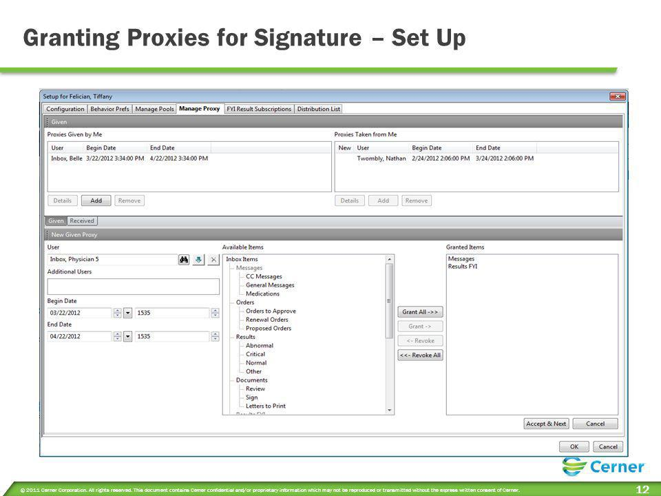 Granting Proxies for Signature – Set Up