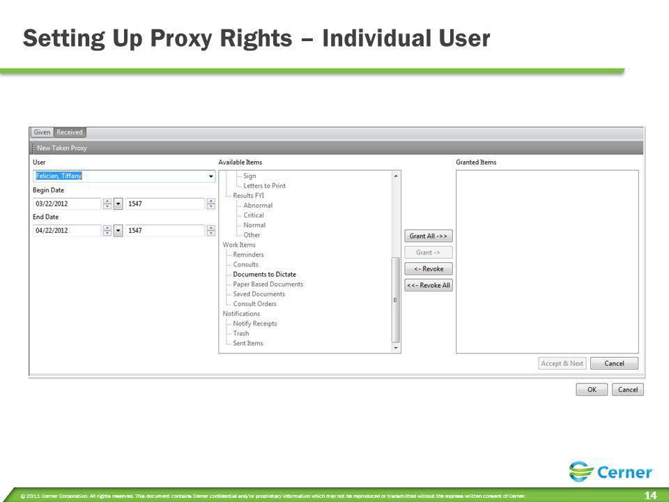 Setting Up Proxy Rights – Individual User