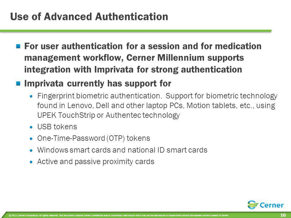 Use of Advanced Authentication