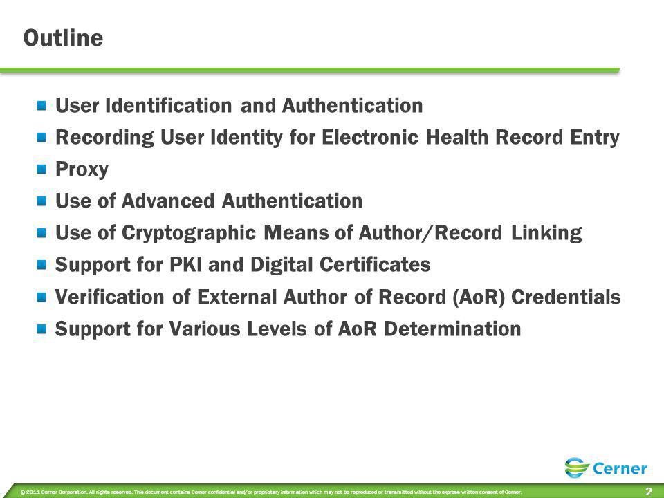 Outline User Identification and Authentication