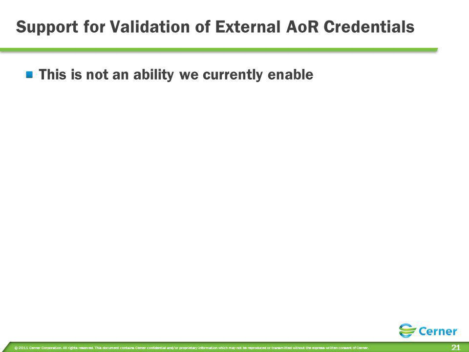 Support for Validation of External AoR Credentials