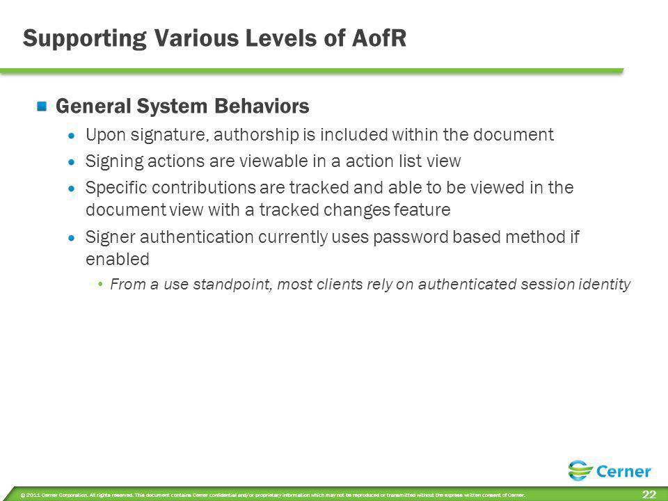 Supporting Various Levels of AofR