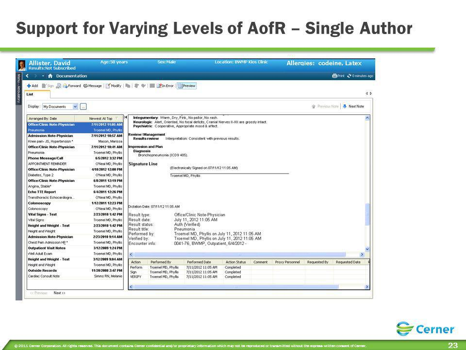Support for Varying Levels of AofR – Single Author