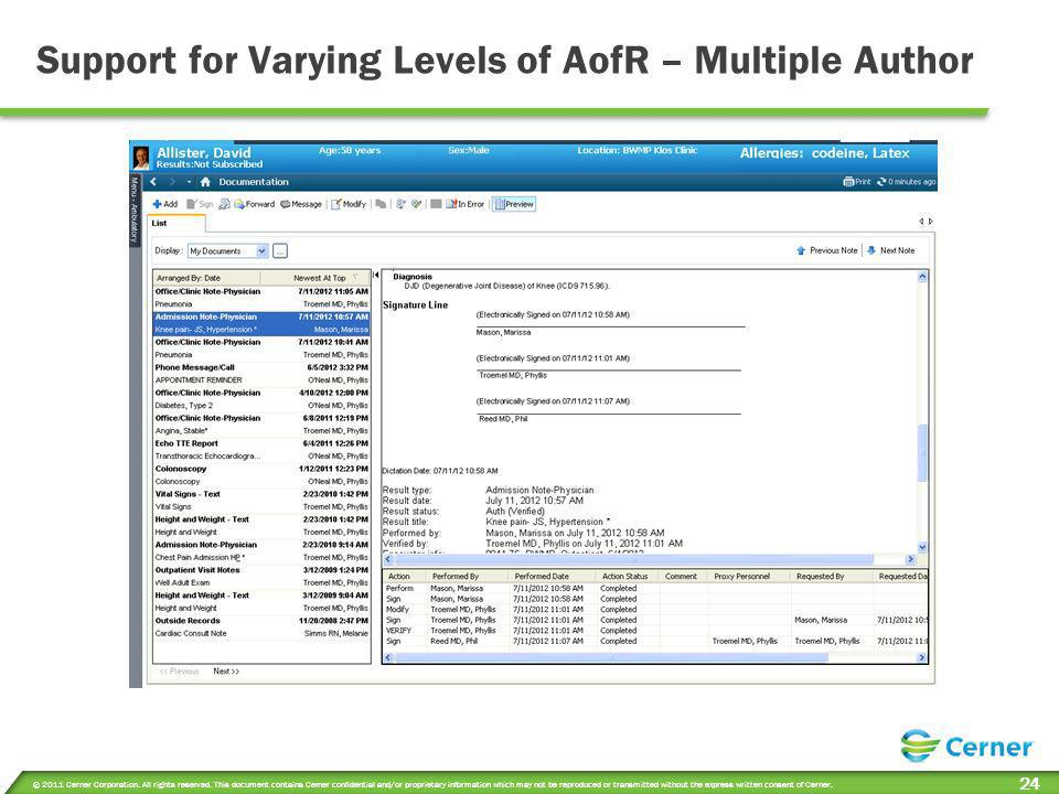 Support for Varying Levels of AofR – Multiple Author