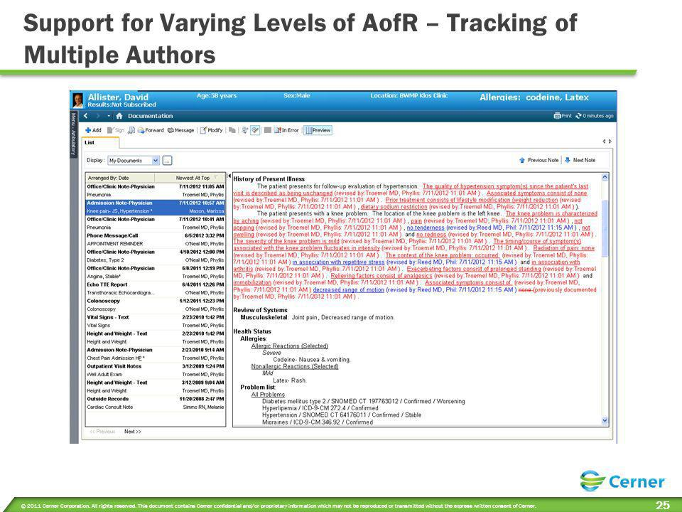 Support for Varying Levels of AofR – Tracking of Multiple Authors
