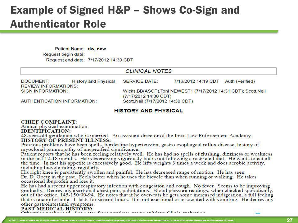 Example of Signed H&P – Shows Co-Sign and Authenticator Role