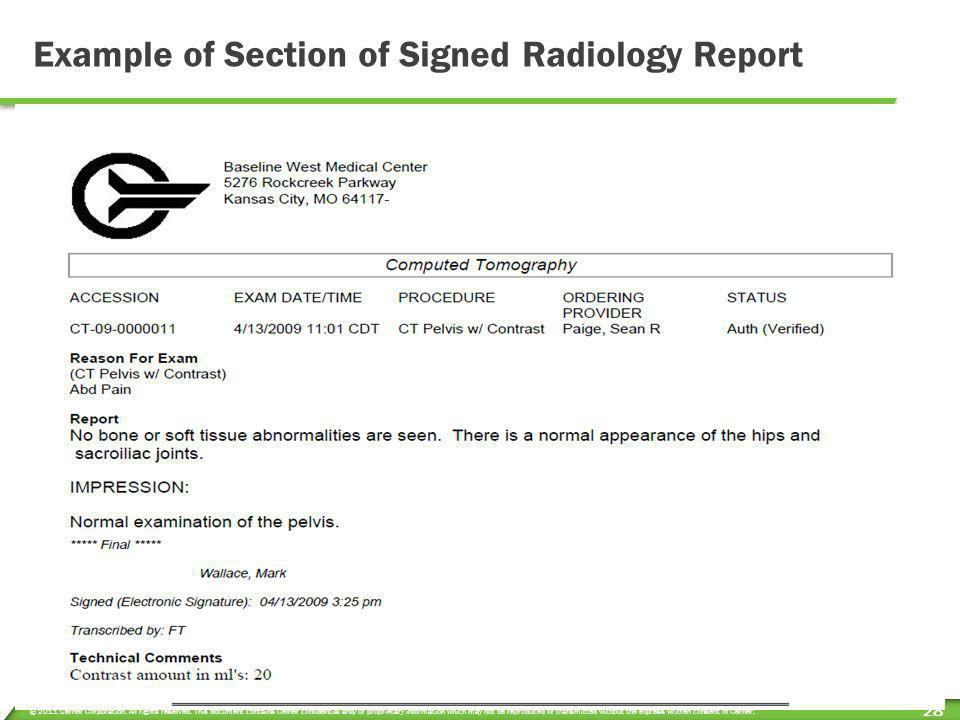 Example of Section of Signed Radiology Report