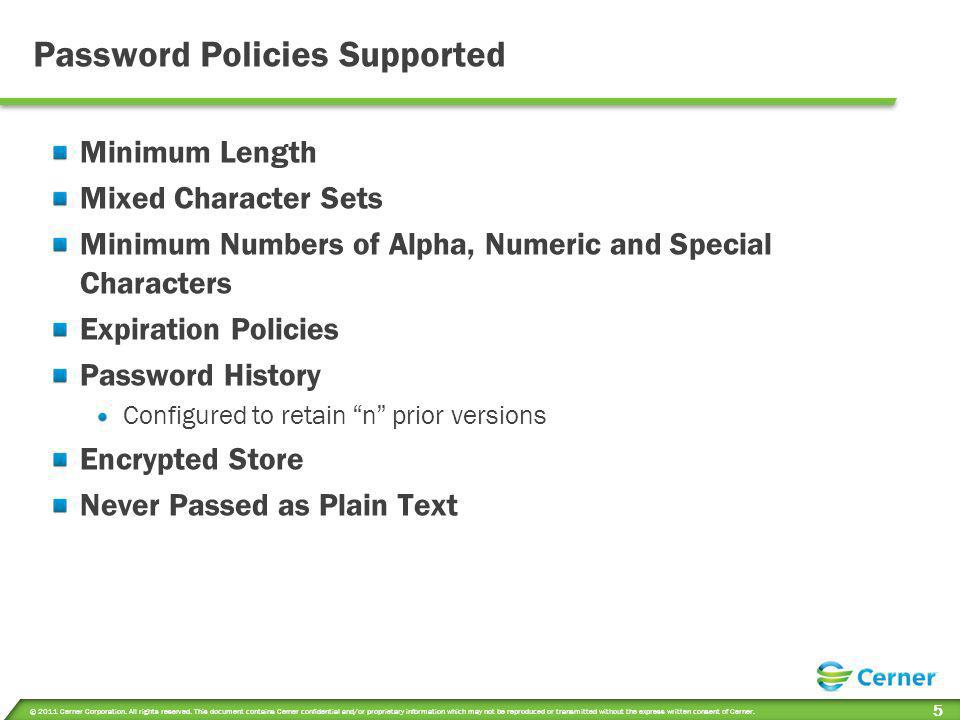 Password Policies Supported