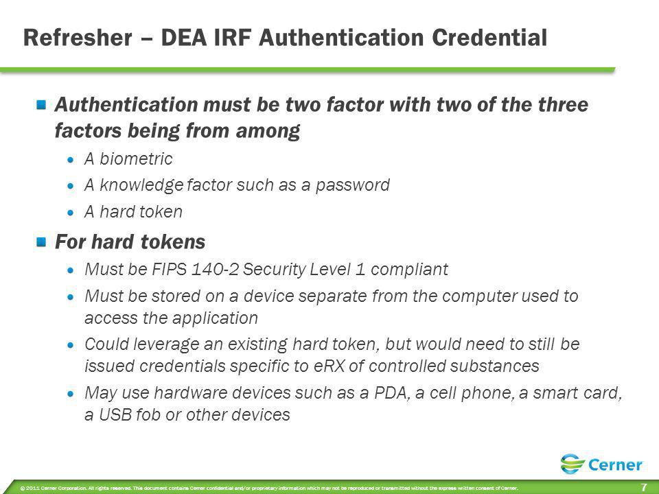 Refresher – DEA IRF Authentication Credential