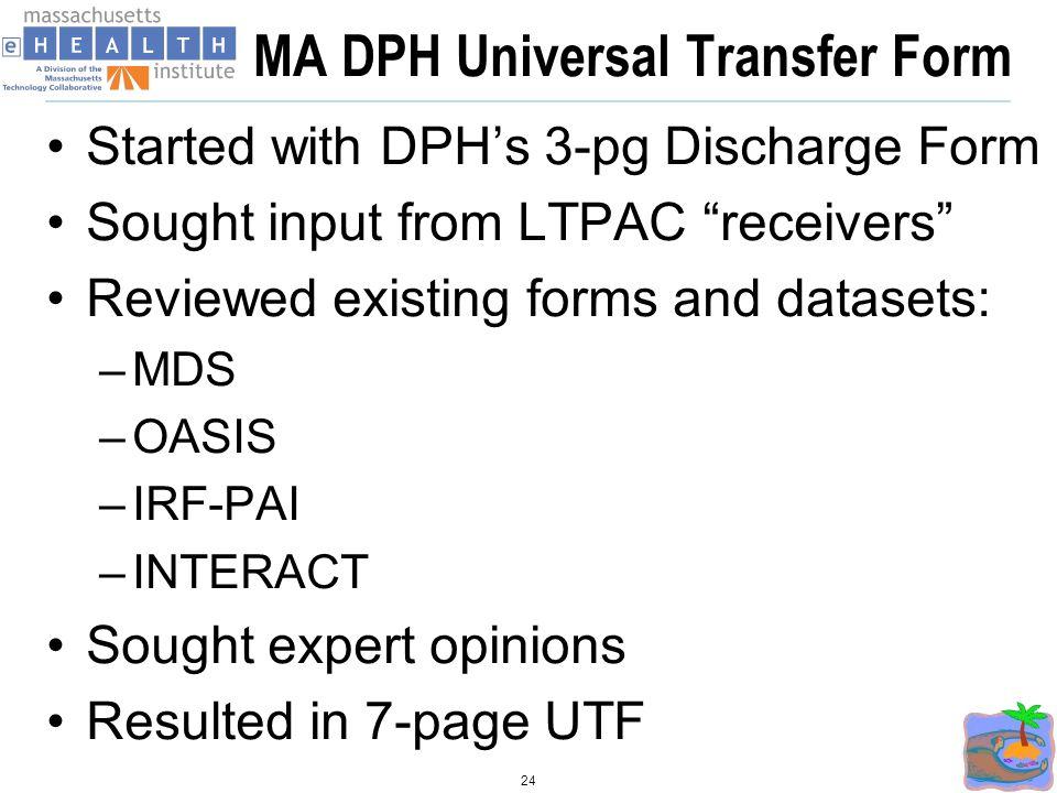 MA DPH Universal Transfer Form