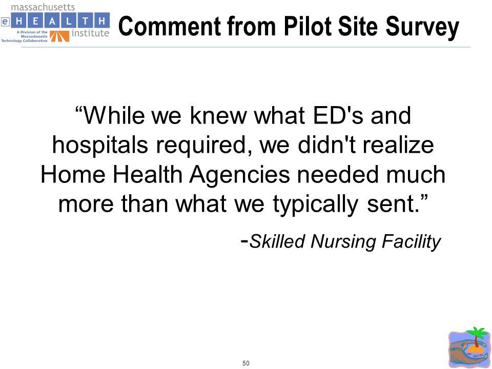 Comment from Pilot Site Survey