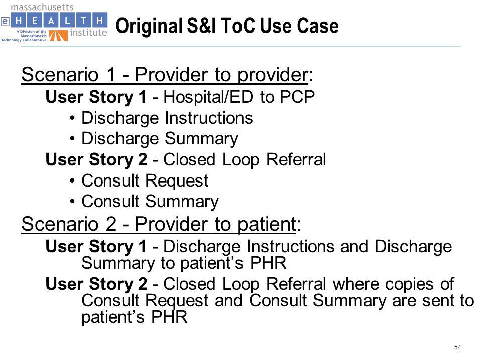 Original S&I ToC Use Case