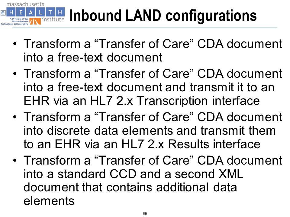 Inbound LAND configurations