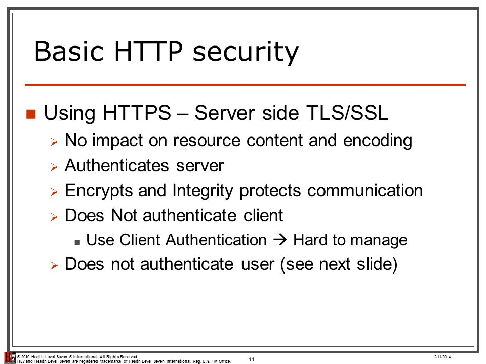 Basic HTTP security Using HTTPS – Server side TLS/SSL