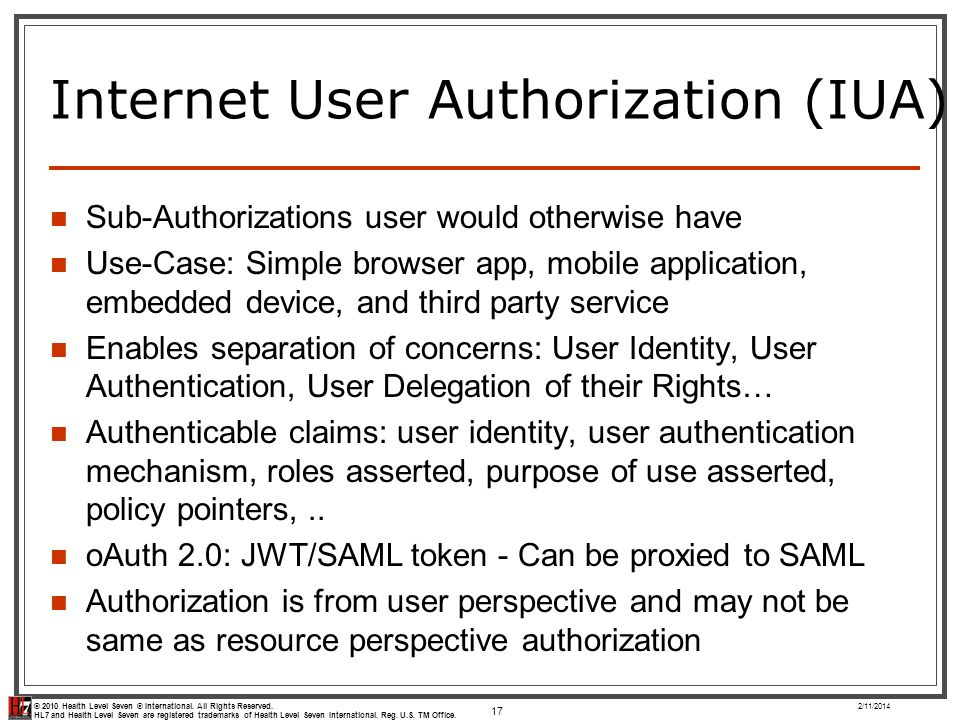 Internet User Authorization (IUA)