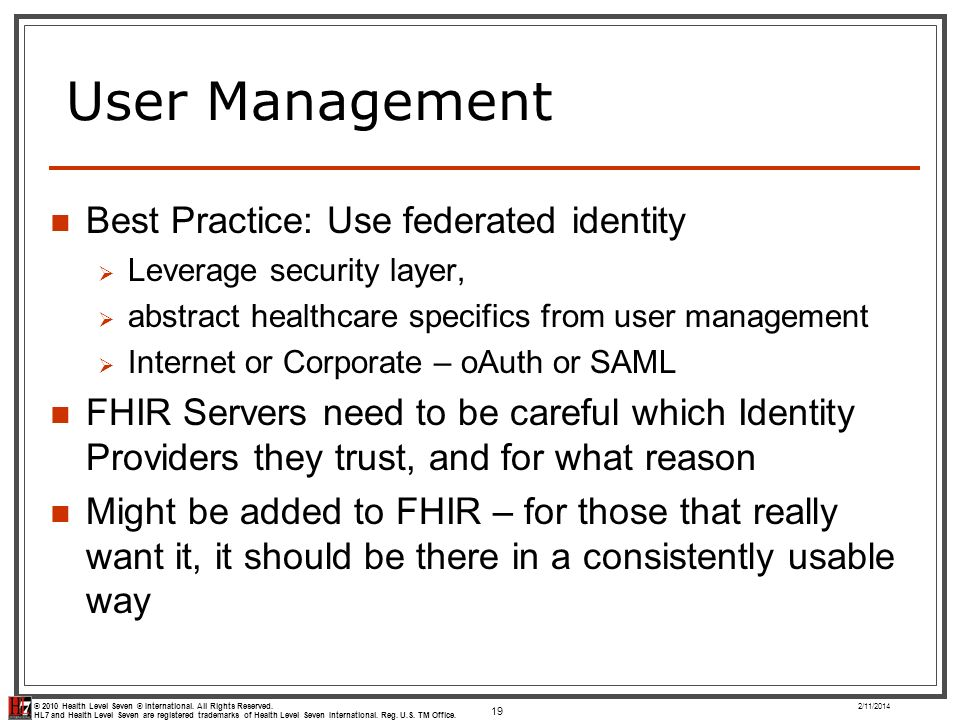 User Management Best Practice: Use federated identity