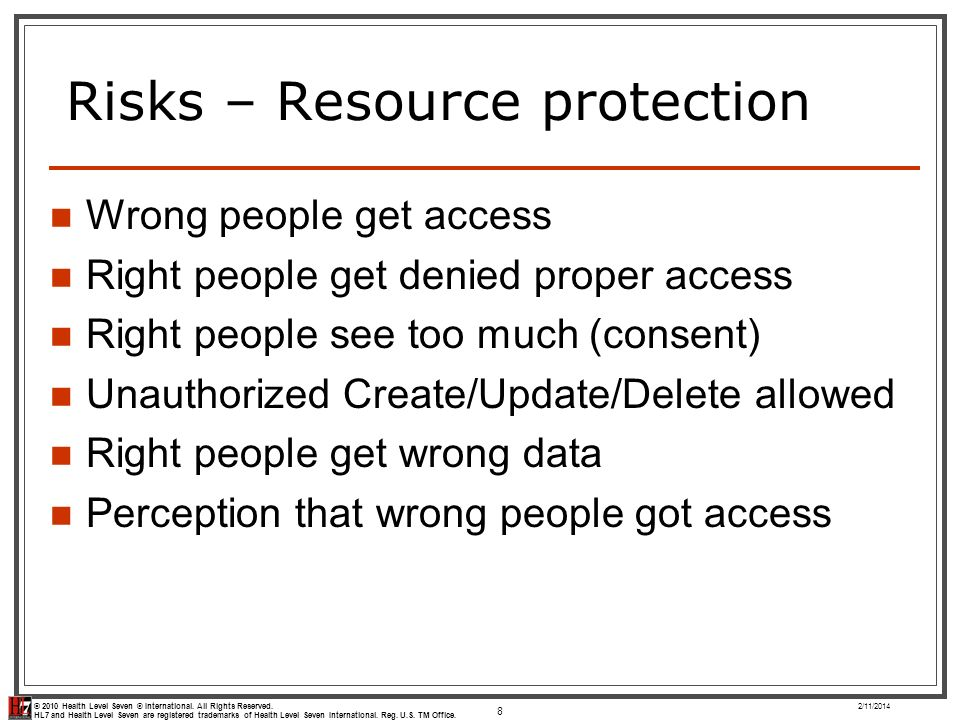 Risks – Resource protection