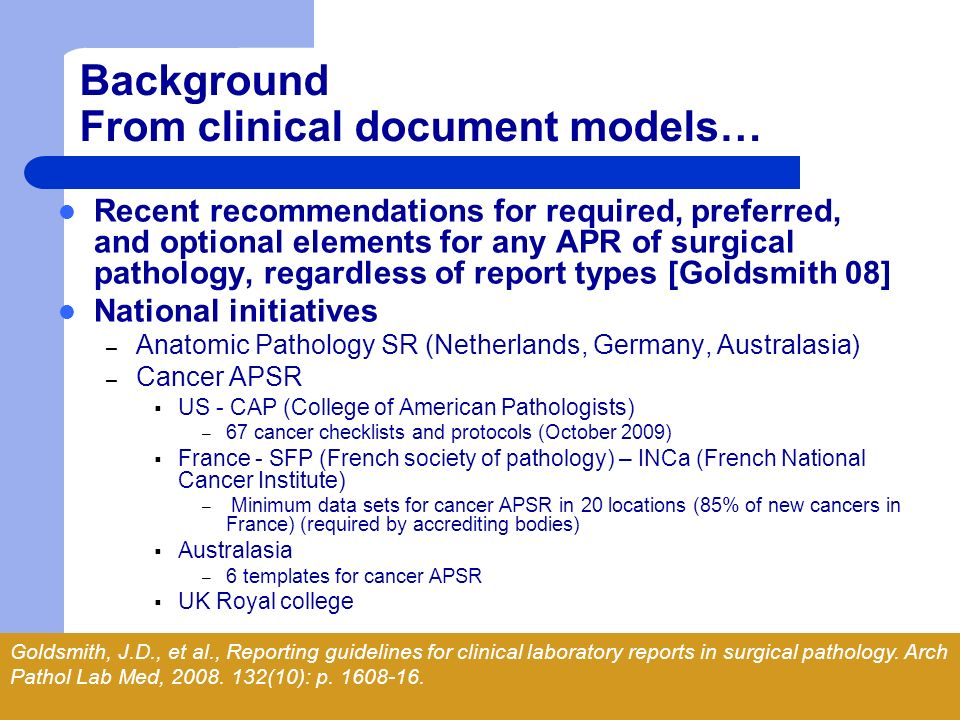 Background From clinical document models…