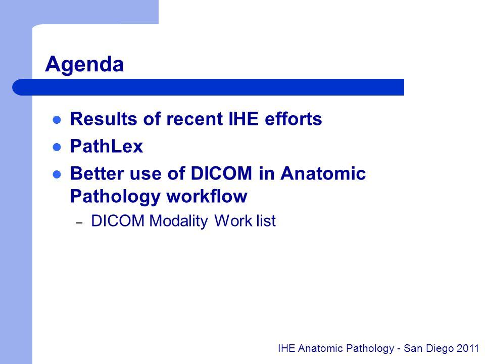Agenda Results of recent IHE efforts PathLex