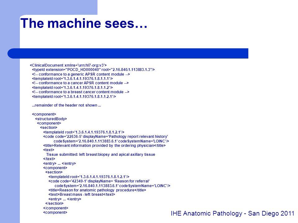 The machine sees… IHE Anatomic Pathology - San Diego 2011