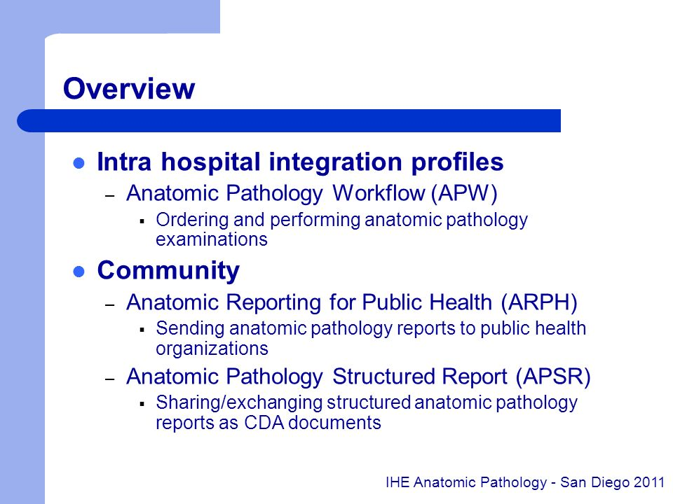 Overview Intra hospital integration profiles Community