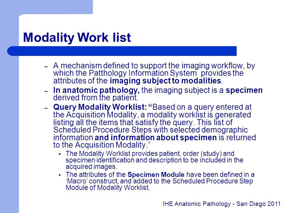 Modality Work list