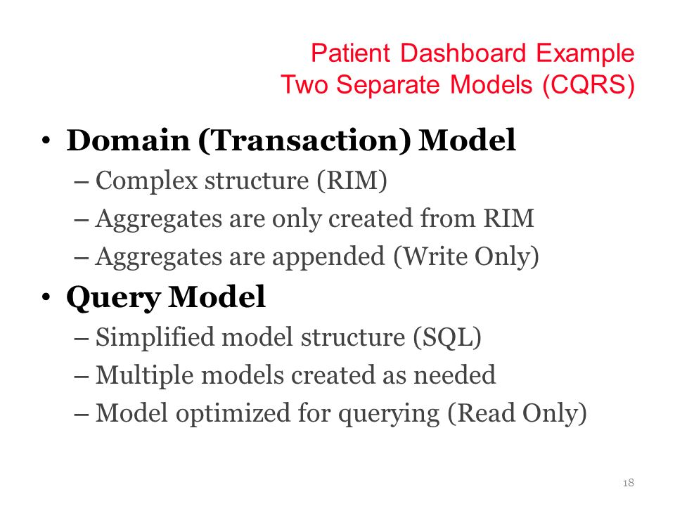 Patient Dashboard Example Two Separate Models (CQRS)