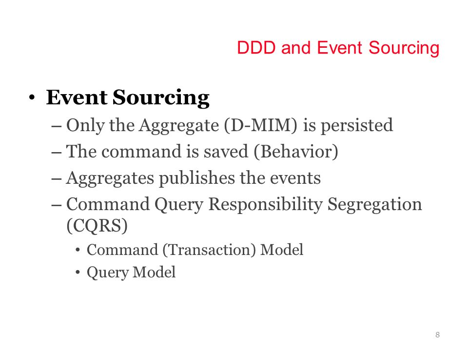 Event Sourcing DDD and Event Sourcing