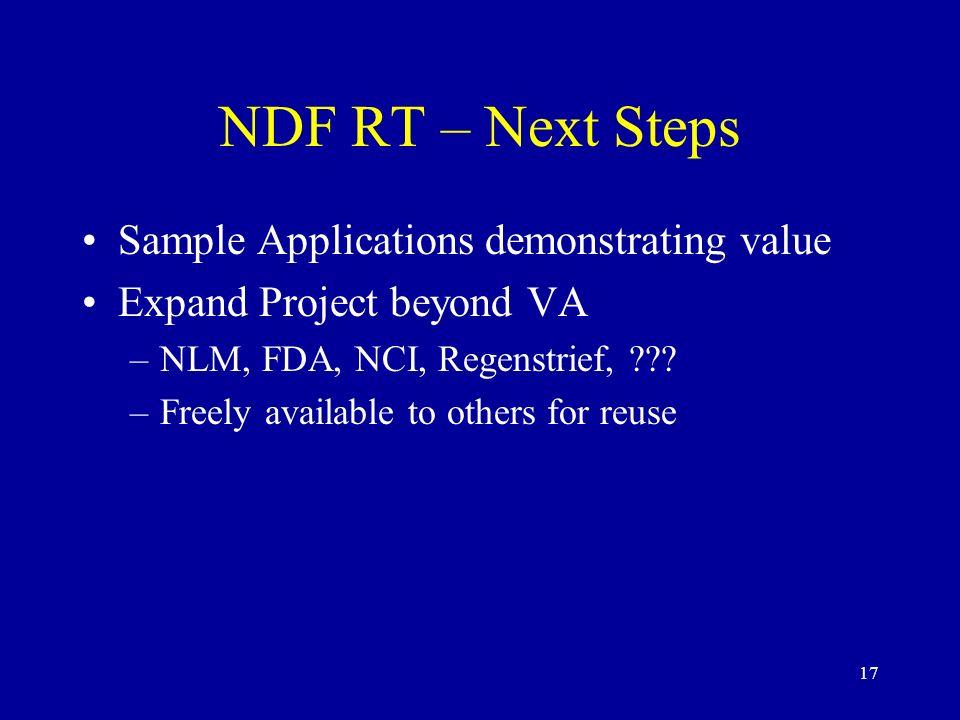 NDF RT – Next Steps Sample Applications demonstrating value