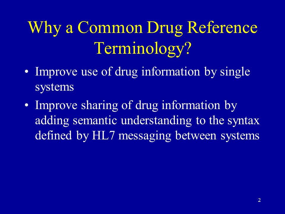 Why a Common Drug Reference Terminology