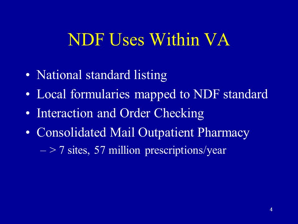 NDF Uses Within VA National standard listing