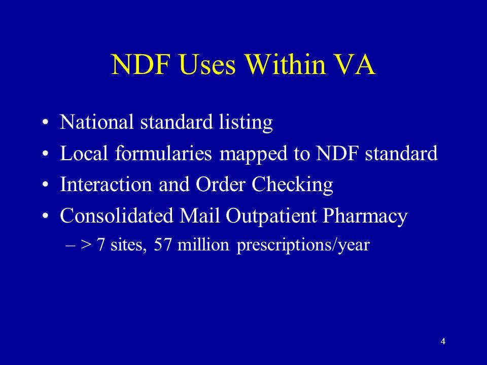NDF Uses Within VA National standard listing